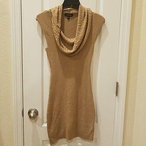 Cowl neck camel color dress